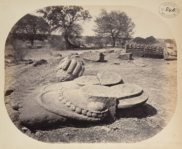 Colossal feet and hand, the remnants of a massive statue, Amdapur, Buldana District, Berar